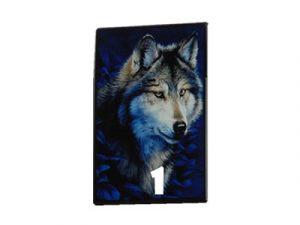 3114-D17-2 Plastic Cigarette Case, Wolf Design