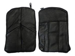 3202ZIPBK Zipper Leather Pouch